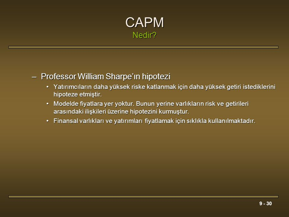 CAPM Nedir Professor William Sharpe'ın hipotezi