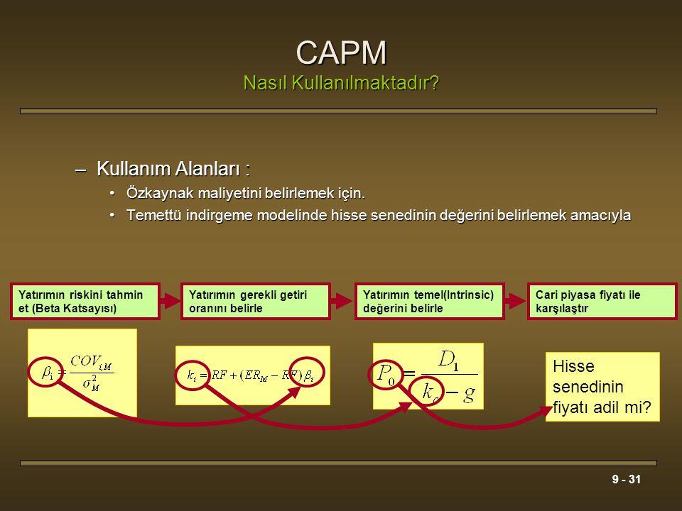 CAPM Nasıl Kullanılmaktadır
