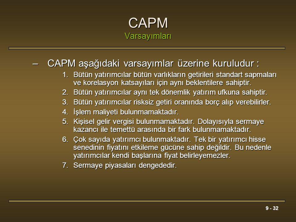 CAPM Varsayımları CAPM aşağıdaki varsayımlar üzerine kuruludur :