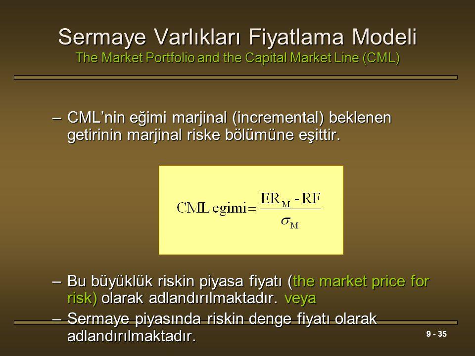 Sermaye Varlıkları Fiyatlama Modeli The Market Portfolio and the Capital Market Line (CML)
