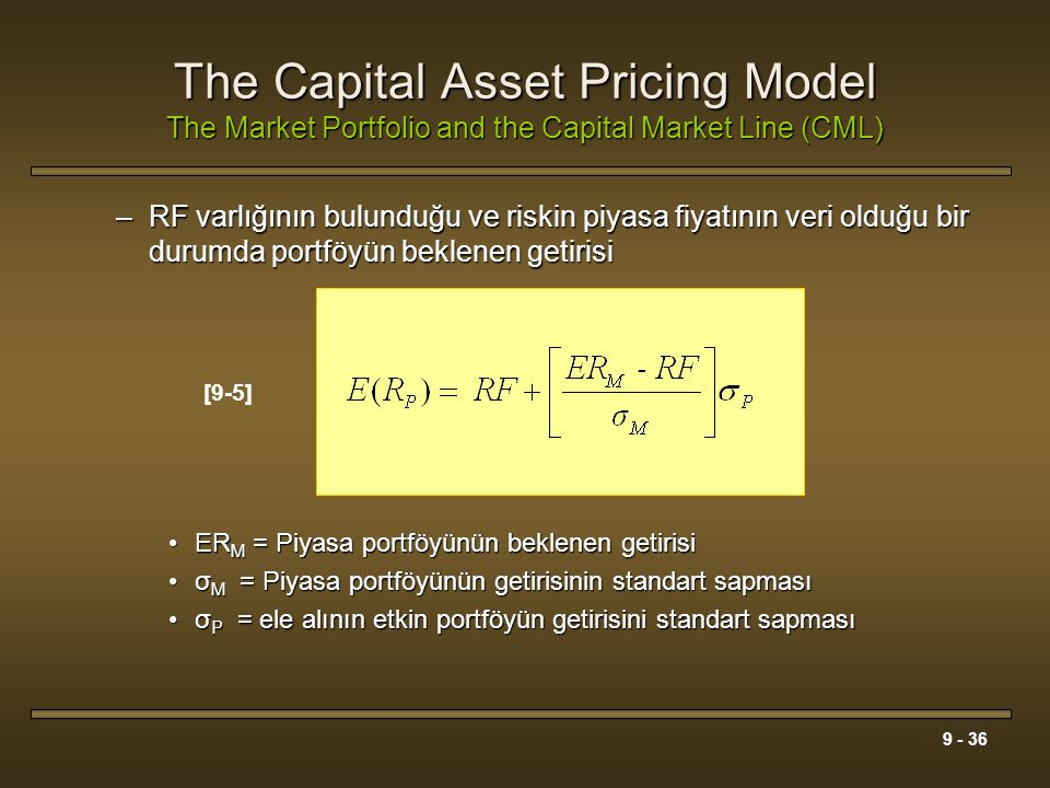 The Capital Asset Pricing Model The Market Portfolio and the Capital Market Line (CML)