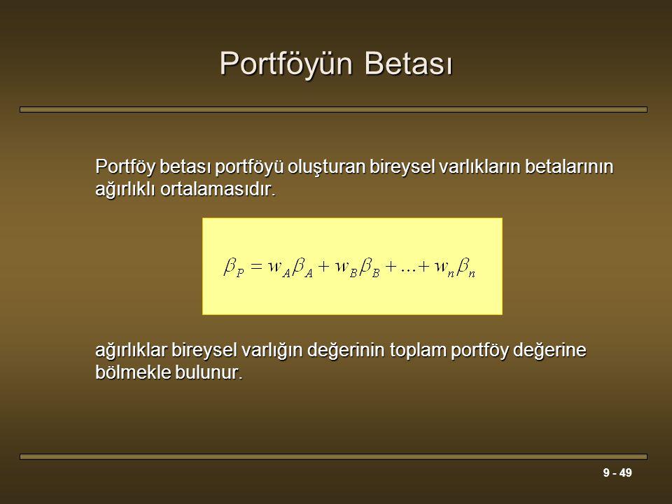 Portföyün Betası Portföy betası portföyü oluşturan bireysel varlıkların betalarının ağırlıklı ortalamasıdır.