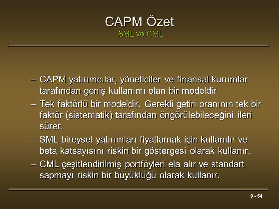 CAPM Özet SML ve CML CAPM yatırımcılar, yöneticiler ve finansal kurumlar tarafından geniş kullanımı olan bir modeldir.