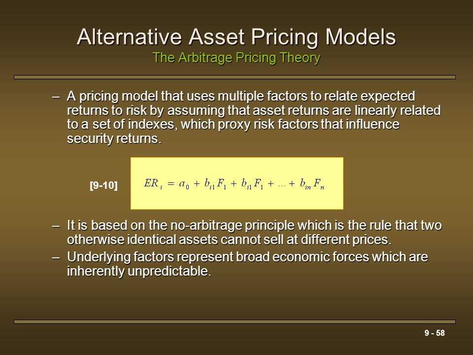 Alternative Asset Pricing Models The Arbitrage Pricing Theory