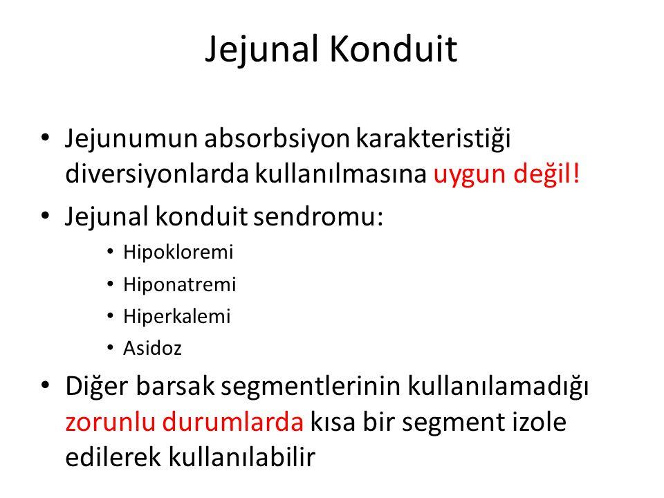 Jejunal Konduit Jejunumun absorbsiyon karakteristiği diversiyonlarda kullanılmasına uygun değil! Jejunal konduit sendromu: