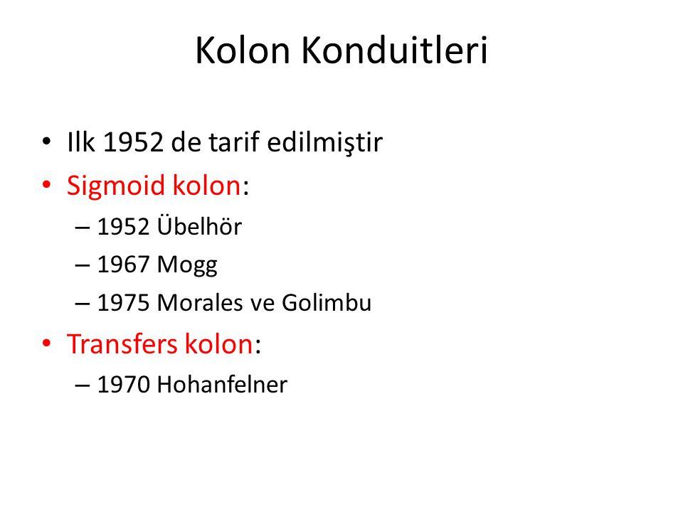 Kolon Konduitleri Ilk 1952 de tarif edilmiştir Sigmoid kolon: