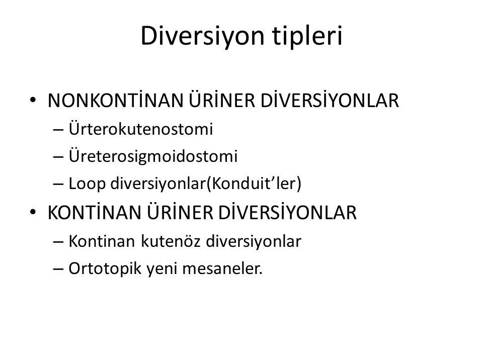 Diversiyon tipleri NONKONTİNAN ÜRİNER DİVERSİYONLAR