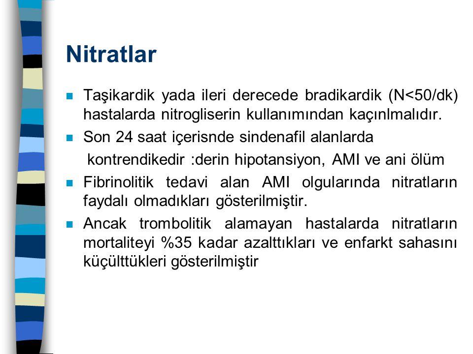Nitratlar Taşikardik yada ileri derecede bradikardik (N<50/dk) hastalarda nitrogliserin kullanımından kaçınlmalıdır.