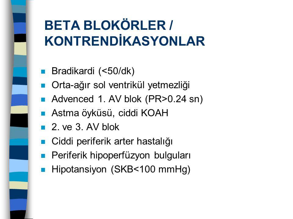 BETA BLOKÖRLER / KONTRENDİKASYONLAR