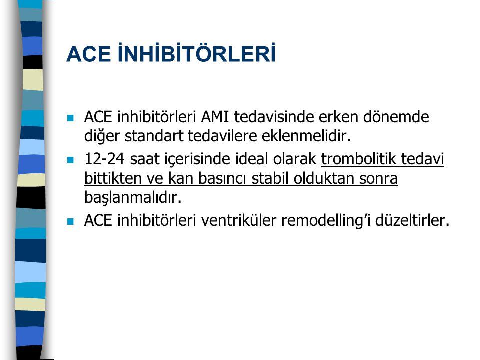 ACE İNHİBİTÖRLERİ ACE inhibitörleri AMI tedavisinde erken dönemde diğer standart tedavilere eklenmelidir.