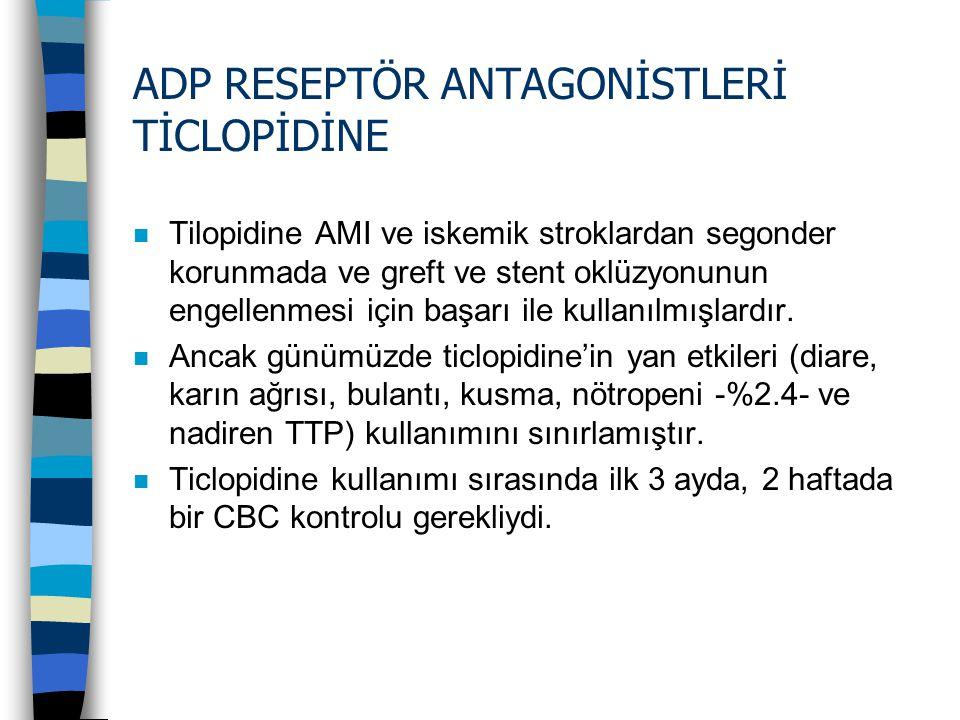 ADP RESEPTÖR ANTAGONİSTLERİ TİCLOPİDİNE