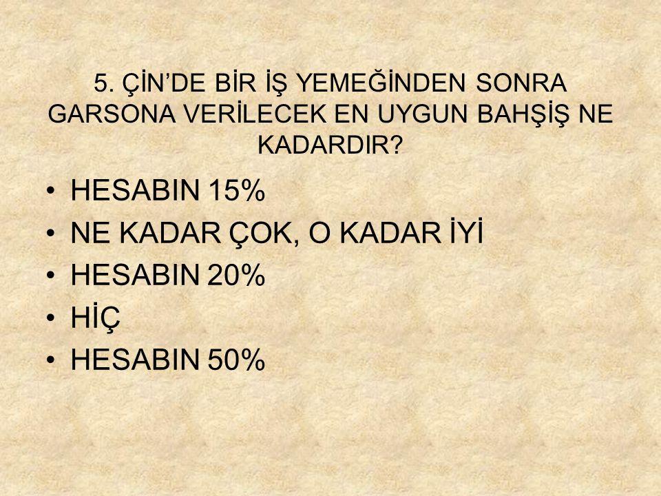HESABIN 15% NE KADAR ÇOK, O KADAR İYİ HESABIN 20% HİÇ HESABIN 50%
