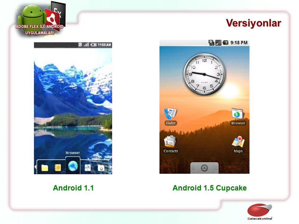 Versiyonlar Android 1.1 Android 1.5 Cupcake