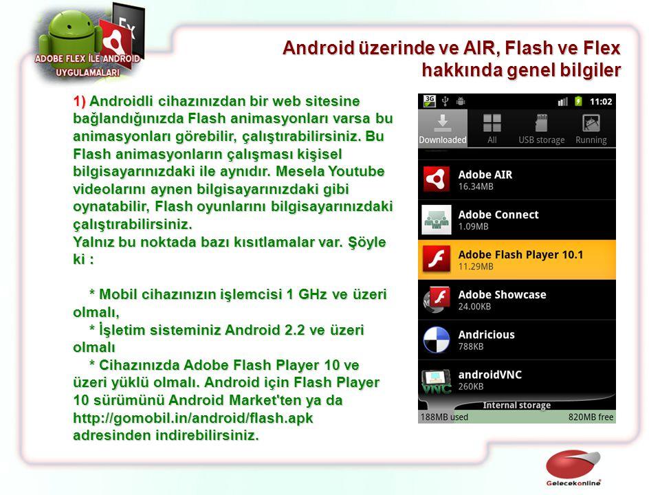 Android üzerinde ve AIR, Flash ve Flex hakkında genel bilgiler