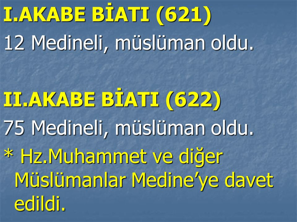 I.AKABE BİATI (621) 12 Medineli, müslüman oldu. II.AKABE BİATI (622) 75 Medineli, müslüman oldu.