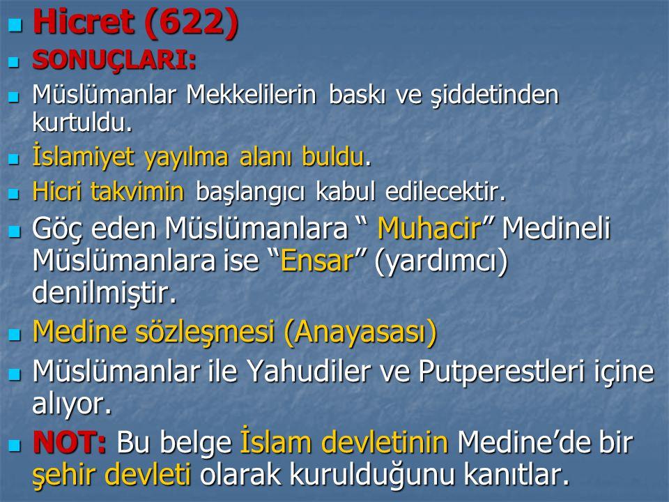 Hicret (622) SONUÇLARI: Müslümanlar Mekkelilerin baskı ve şiddetinden kurtuldu. İslamiyet yayılma alanı buldu.
