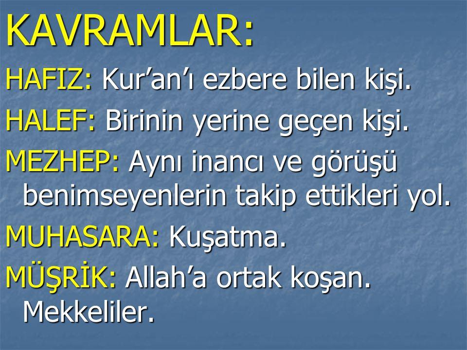 KAVRAMLAR: HAFIZ: Kur'an'ı ezbere bilen kişi.