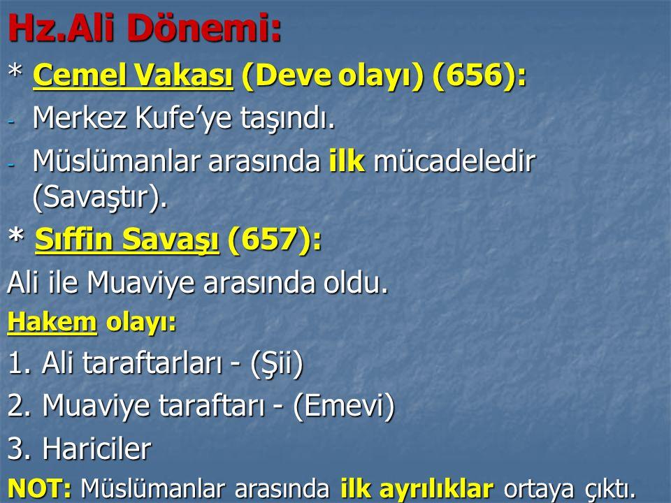 Hz.Ali Dönemi: * Cemel Vakası (Deve olayı) (656):