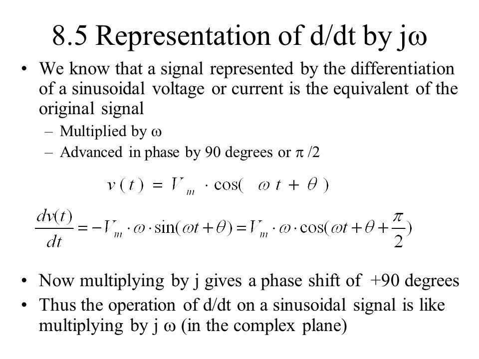8.5 Representation of d/dt by j