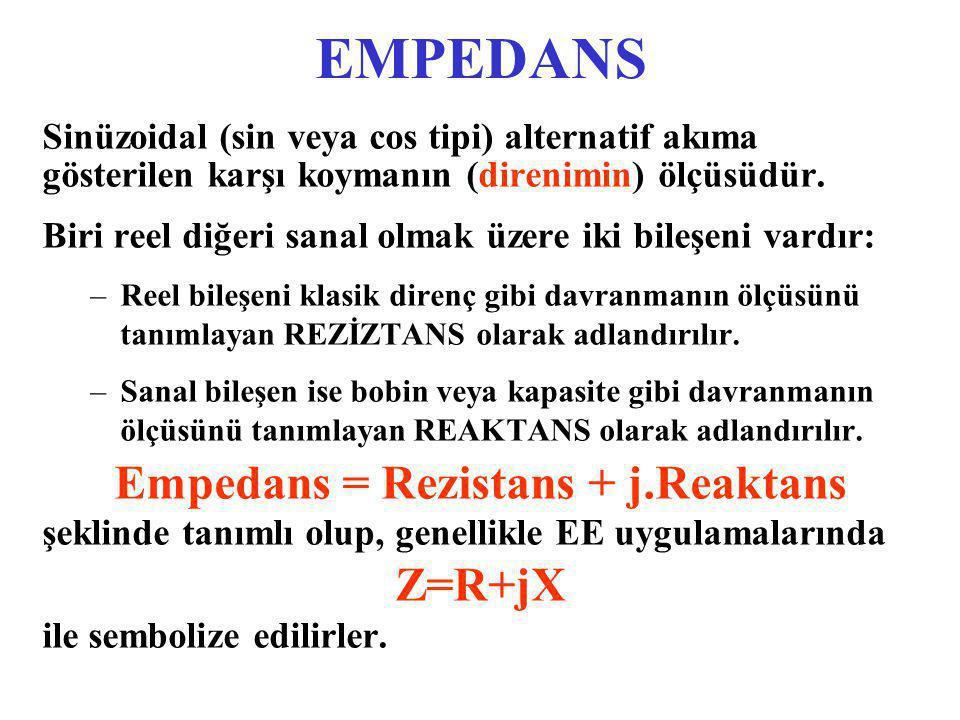 Empedans = Rezistans + j.Reaktans