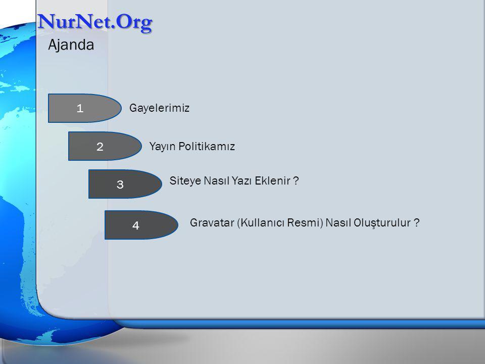 NurNet.Org Ajanda 1 Gayelerimiz 2 Yayın Politikamız 3