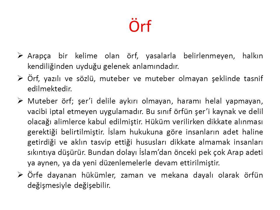 Örf Arapça bir kelime olan örf, yasalarla belirlenmeyen, halkın kendiliğinden uyduğu gelenek anlamındadır.