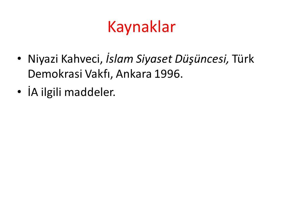 Kaynaklar Niyazi Kahveci, İslam Siyaset Düşüncesi, Türk Demokrasi Vakfı, Ankara 1996.