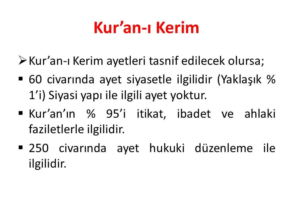 Kur'an-ı Kerim Kur'an-ı Kerim ayetleri tasnif edilecek olursa;