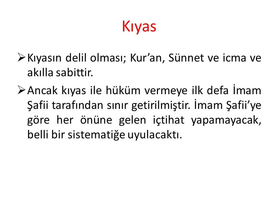 Kıyas Kıyasın delil olması; Kur'an, Sünnet ve icma ve akılla sabittir.