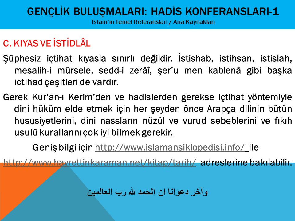 GENÇLİK BULUŞMALARI: HADİS KONFERANslarI-1 İslam'ın Temel Referansları / Ana Kaynakları