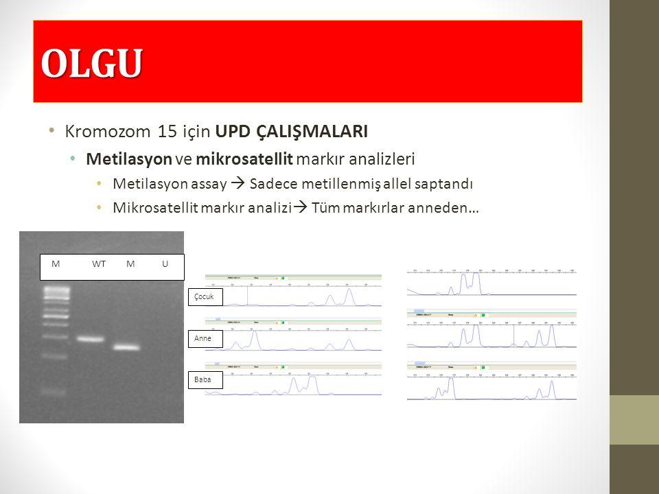 OLGU Kromozom 15 için UPD ÇALIŞMALARI