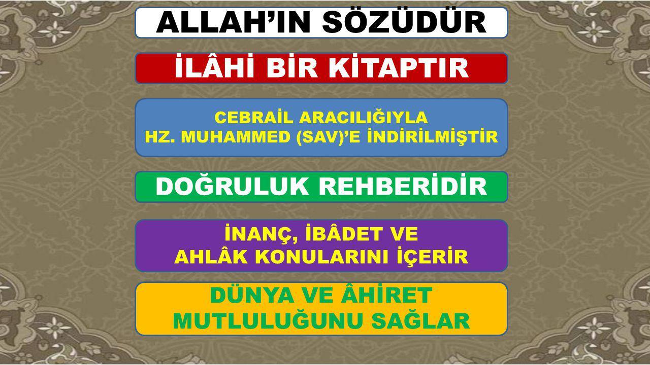 ALLAH'IN SÖZÜDÜR İLÂHİ BİR KİTAPTIR DOĞRULUK REHBERİDİR