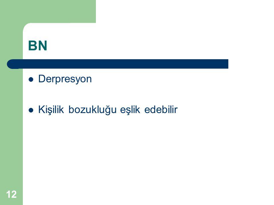 BN Derpresyon Kişilik bozukluğu eşlik edebilir