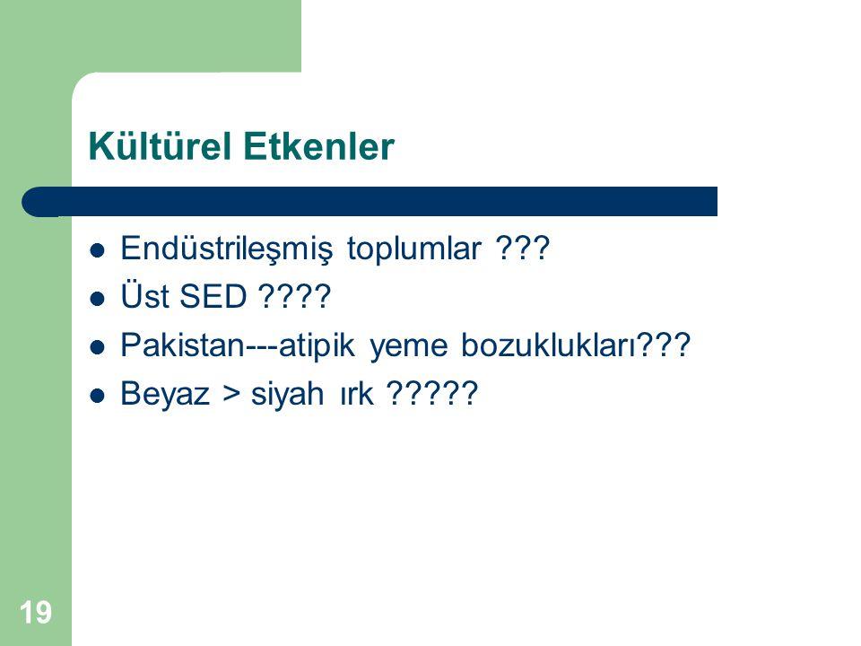 Kültürel Etkenler Endüstrileşmiş toplumlar Üst SED