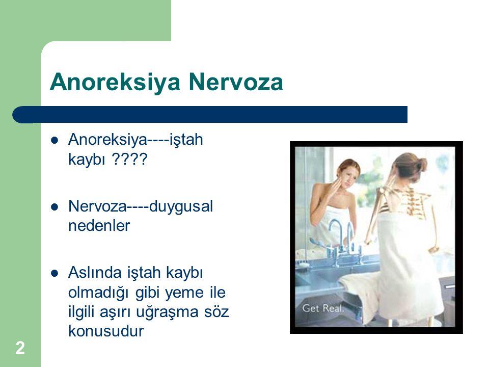 Anoreksiya Nervoza Anoreksiya----iştah kaybı