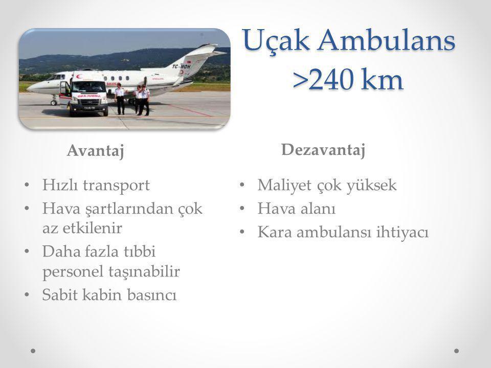 Uçak Ambulans >240 km Avantaj Dezavantaj Hızlı transport
