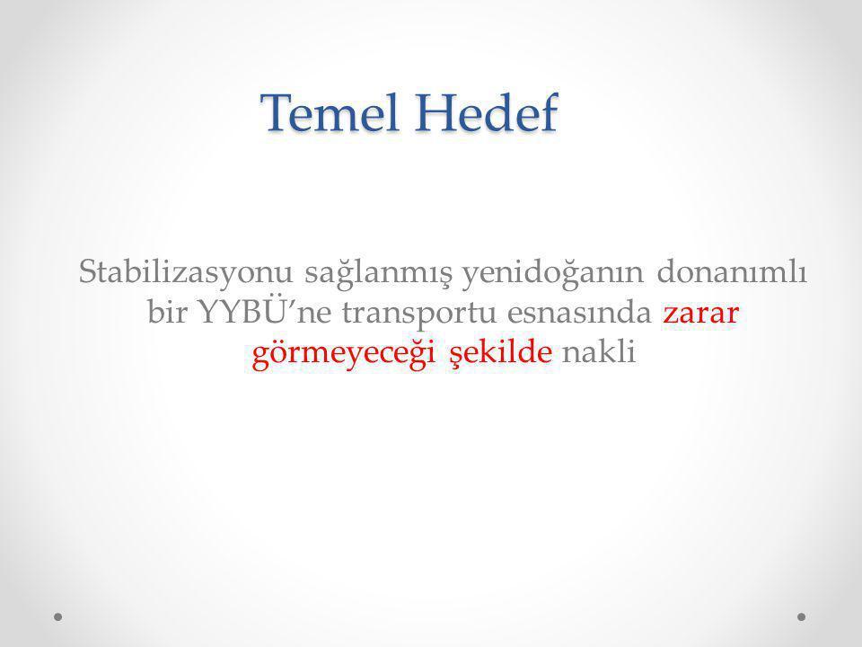 Temel Hedef Stabilizasyonu sağlanmış yenidoğanın donanımlı bir YYBÜ'ne transportu esnasında zarar görmeyeceği şekilde nakli.