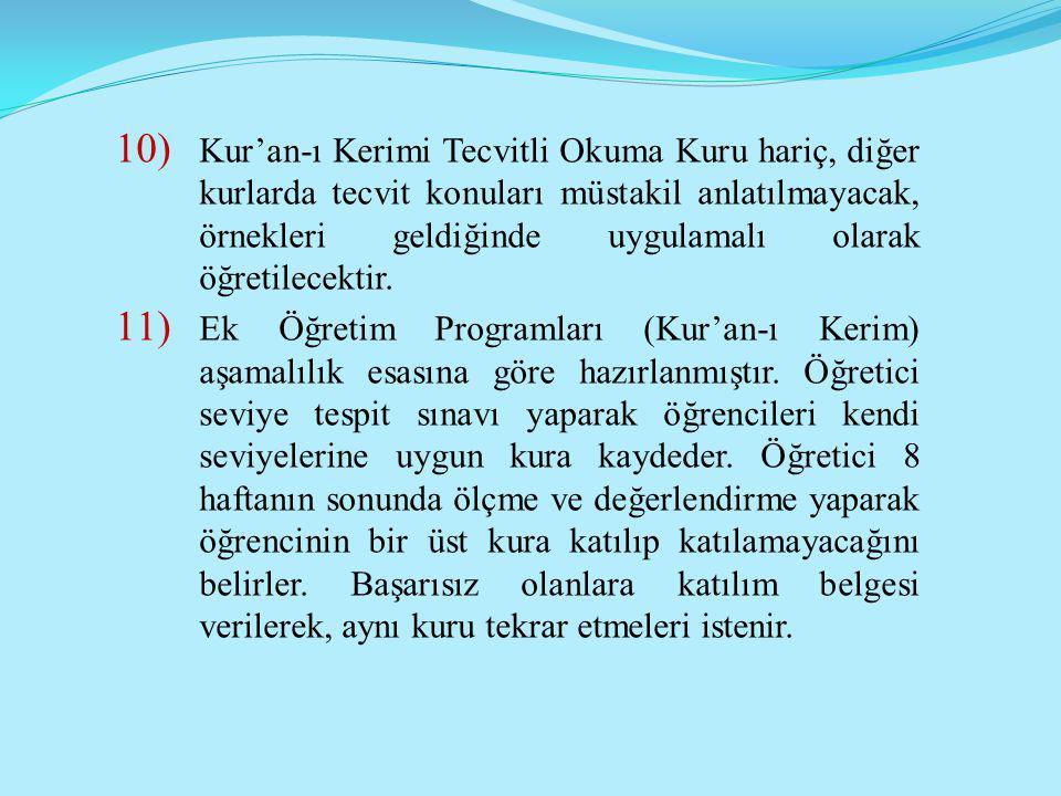 Kur'an-ı Kerimi Tecvitli Okuma Kuru hariç, diğer kurlarda tecvit konuları müstakil anlatılmayacak, örnekleri geldiğinde uygulamalı olarak öğretilecektir.