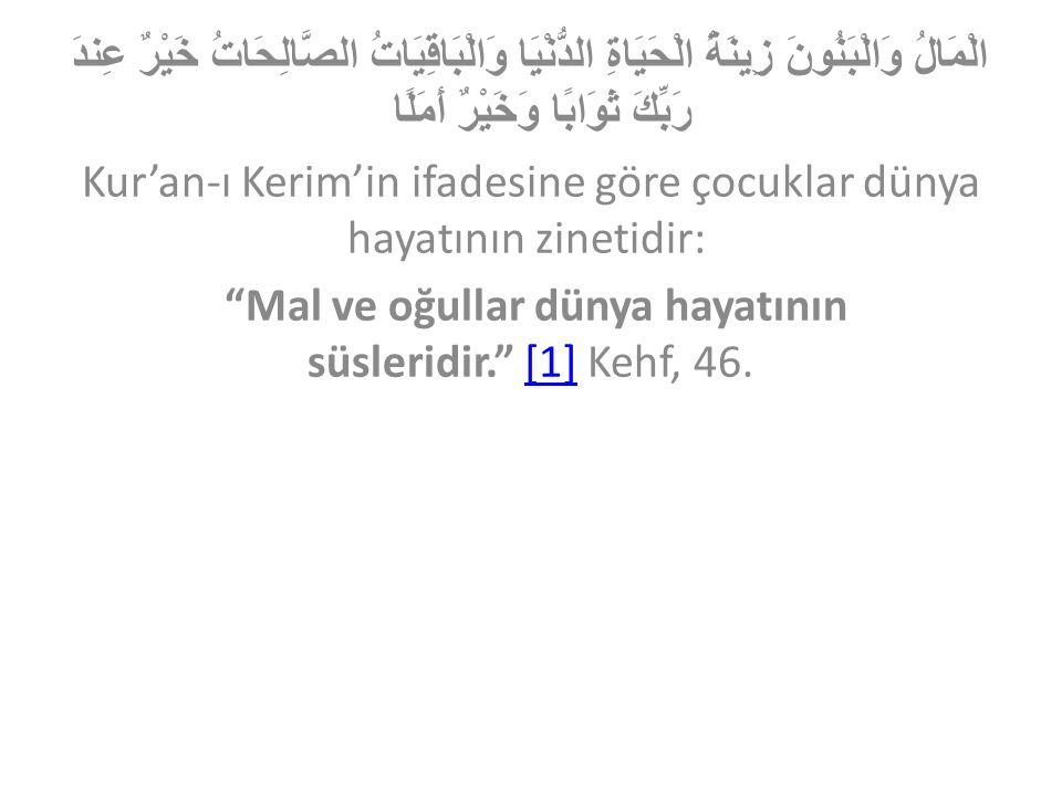 Kur'an-ı Kerim'in ifadesine göre çocuklar dünya hayatının zinetidir: