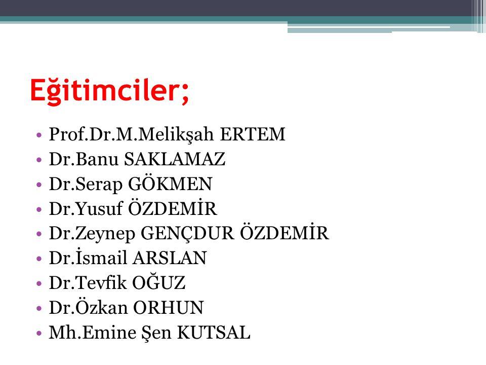 Eğitimciler; Prof.Dr.M.Melikşah ERTEM Dr.Banu SAKLAMAZ Dr.Serap GÖKMEN