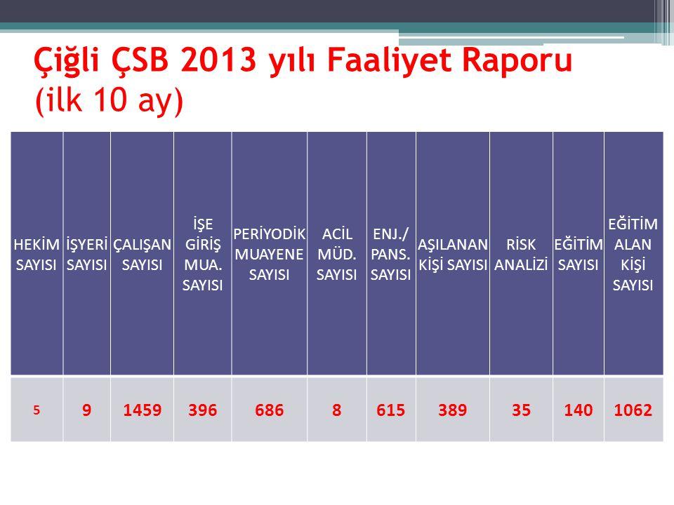 Çiğli ÇSB 2013 yılı Faaliyet Raporu (ilk 10 ay)
