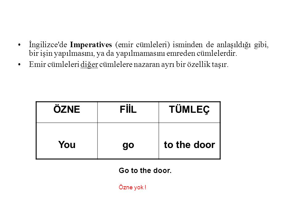 ÖZNE FİİL TÜMLEÇ You go to the door