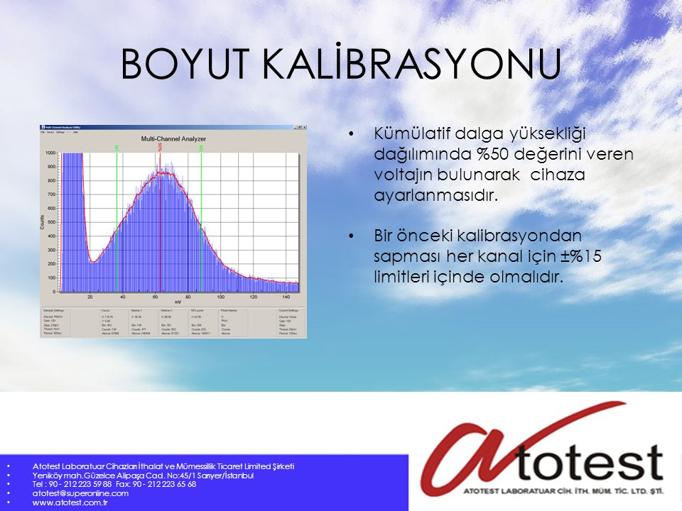 BOYUT KALİBRASYONU Kümülatif dalga yüksekliği dağılımında %50 değerini veren voltajın bulunarak cihaza ayarlanmasıdır.