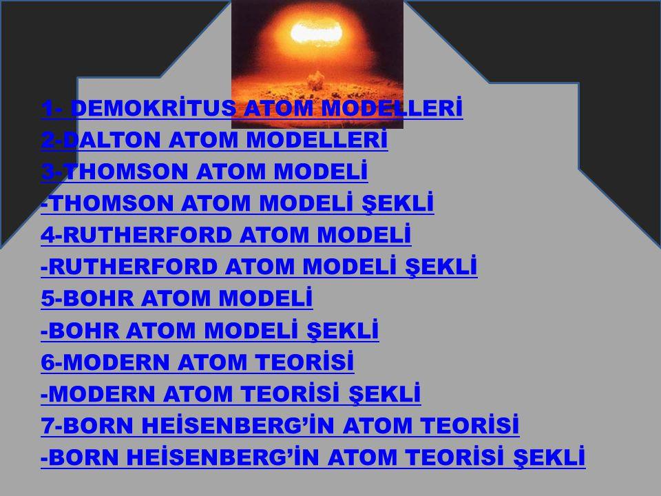 1- DEMOKRİTUS ATOM MODELLERİ 2-DALTON ATOM MODELLERİ 3-THOMSON ATOM MODELİ -THOMSON ATOM MODELİ ŞEKLİ 4-RUTHERFORD ATOM MODELİ -RUTHERFORD ATOM MODELİ ŞEKLİ 5-BOHR ATOM MODELİ -BOHR ATOM MODELİ ŞEKLİ 6-MODERN ATOM TEORİSİ -MODERN ATOM TEORİSİ ŞEKLİ 7-BORN HEİSENBERG'İN ATOM TEORİSİ -BORN HEİSENBERG'İN ATOM TEORİSİ ŞEKLİ