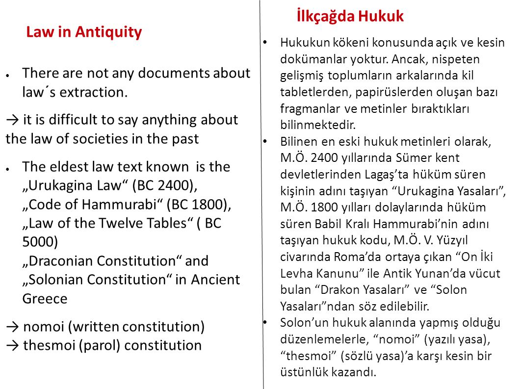 İlkçağda Hukuk Law in Antiquity