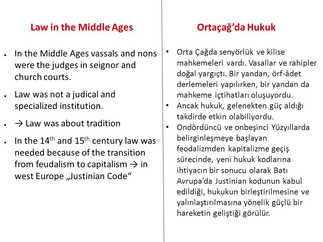 Law in the Middle Ages Ortaçağ'da Hukuk