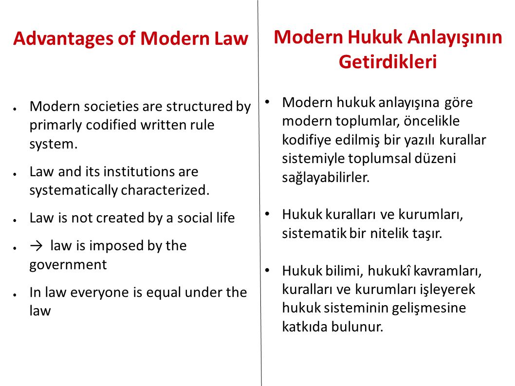 Advantages of Modern Law