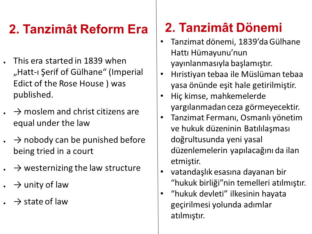 2. Tanzimât Dönemi 2. Tanzimât Reform Era