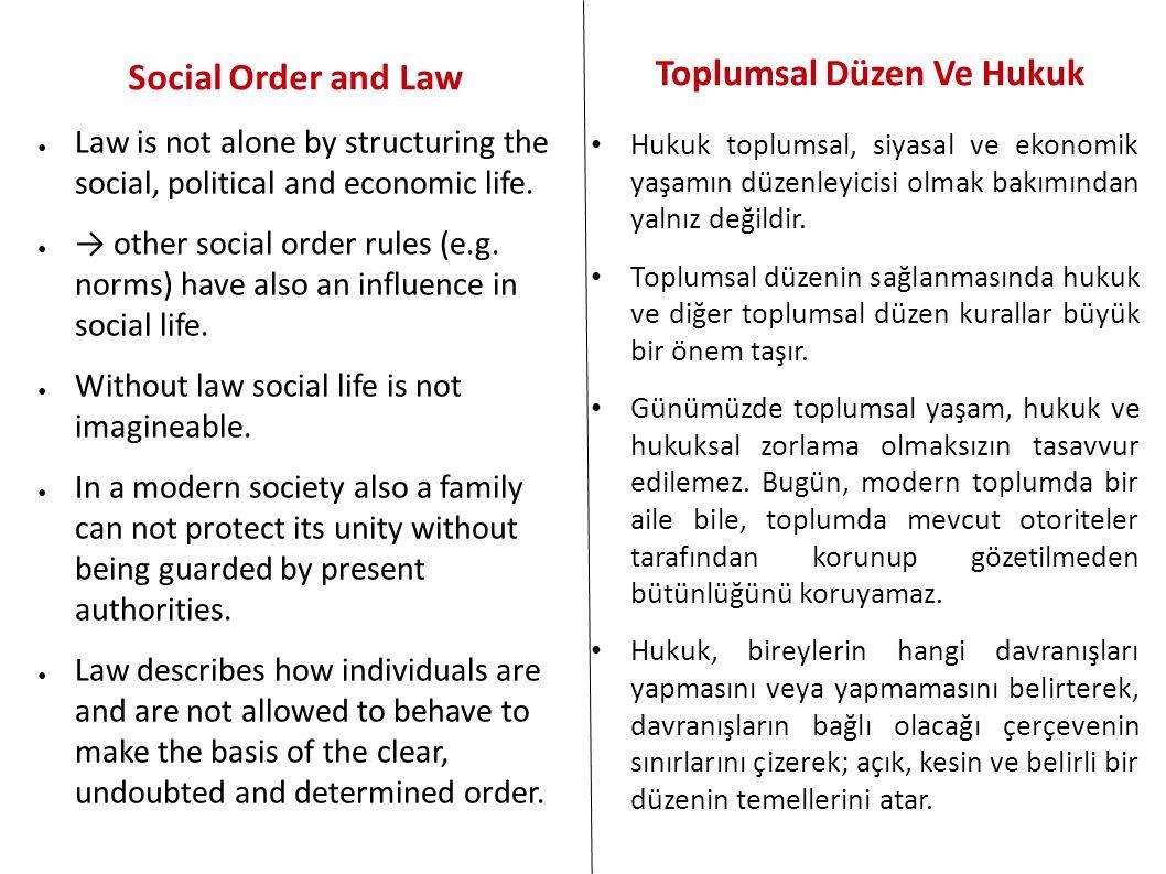 Toplumsal Düzen Ve Hukuk