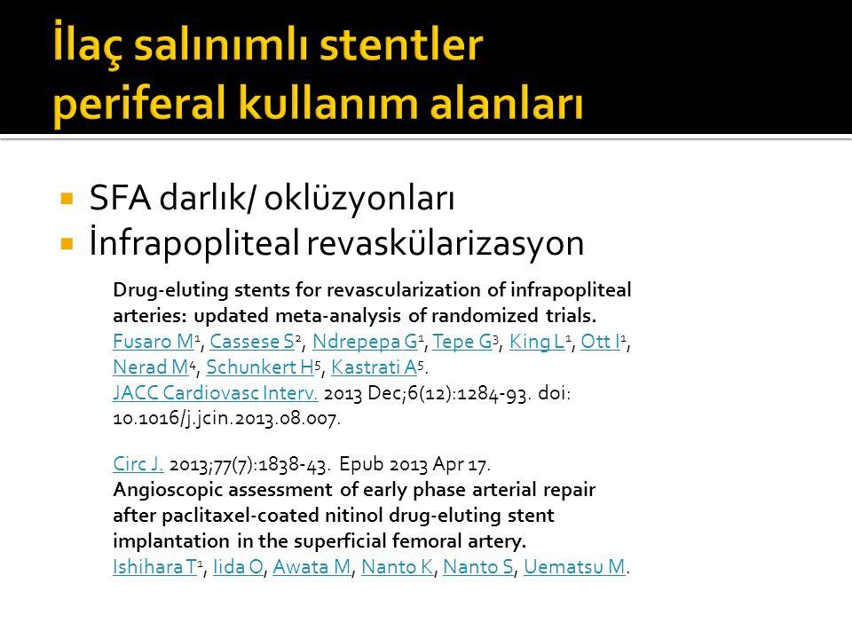 İlaç salınımlı stentler periferal kullanım alanları